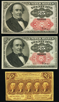 Fr. 1281 25¢ First Issue New; Fr. 1308 25¢ Fifth Issue Choice New; Fr. 1309 25¢ Fifth Issue Choic
