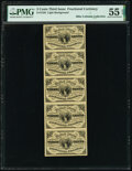 Fractional Currency:Third Issue, Fr. 1226 3¢ Third Issue Uncut Strip of Five PMG About Uncirculated 55 EPQ.. ...