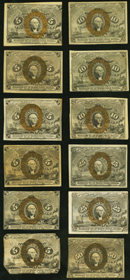 Second Issue Notes. Fr. 1232 5¢ (2) New; VF-XF; Fr. 1233 5¢ (2) New; About New; Fr. 1234 5¢ New; Fr. 1235...