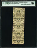 Fractional Currency:Third Issue, Fr. 1226 3¢ Third Issue Uncut Strip of Five PMG About Uncirculated 50.. ...