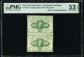 Fractional Currency:First Issue, Fr. 1242 10¢ First Issue Uncut Vertical Pair PMG About Uncirculated 53 EPQ.. ...