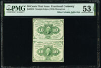 Fr. 1242 10¢ First Issue Uncut Vertical Pair PMG About Uncirculated 53 EPQ