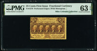 Fr. 1279 25¢ First Issue PMG Choice Uncirculated 63 EPQ