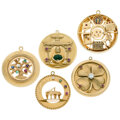 Estate Jewelry:Lots, Diamond, Multi-Stone, Gold Charms. ... (Total: 5 Items)