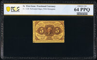Fr. 1228 5¢ First Issue PCGS Banknote Choice Unc 64 PPQ