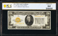 Small Size:Gold Certificates, Fr. 2402 $20 1928 Gold Certificate. PCGS Banknote Choice Unc 64.. ...
