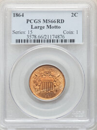 1864 2C Large Motto MS66 Red PCGS. PCGS Population: (65/4). NGC Census: (43/3). CDN: $2,600 Whsle. Bid for NGC/PCGS MS66...