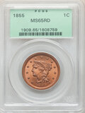 1855 1C Upright 5s MS65 Red PCGS. PCGS Population: (84/17). NGC Census: (34/6). CDN: $2,250 Whsle. Bid for NGC/PCGS MS65...