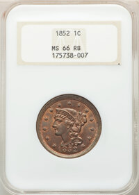 1852 1C MS66 Red and Brown NGC. NGC Census: (19/2). PCGS Population: (10/1). CDN: $1,550 Whsle. Bid for NGC/PCGS MS66. M...