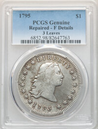 1795 $1 Flowing Hair, Three Leaves -- Repaired -- PCGS Genuine. Fine Details. Mintage 160,295....(PCGS# 6852)