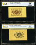 Fractional Currency:First Issue, Fr. 1231SP 5¢ First Issue Wide Margin Pair PCGS Banknote Choice AU 58 and Choice XF 45.. ... (Total: 2 notes)