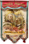 Political:Textile Display (pre-1896), Harrison & Morton: A Spectacular Large Jugate Campaign Banner. ...