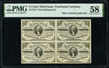 Fractional Currency:Third Issue, Fr. 1227 3¢ Third Issue Block of Four PMG Choice About Unc 58.. ...