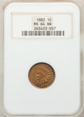 Indian Cents, 1882 1C MS64 Brown NGC. NGC Census: (117/91). PCGS Population: (117/54). CDN: $120 Whsle. Bid for NGC/PCGS MS64. Mintage 38...
