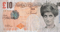 After Banksy Di-Faced Tenner, 10GBP Note, 2005 Offset lithograph in colors on paper 3 x 5-5/8 inches (7.6 x 14.3 cm)