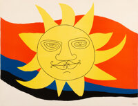Alexander Calder (1898-1976) Sun Face Lithograph in colors on wove paper 19-3/4 x 25-3/4 inches (