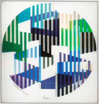 Yaacov Agam (b. 1928) Liberty #4 Agamograph 15 x 14-1/2 inches (38.1 x 36.8 cm) (sight) Titled in pencil on verso