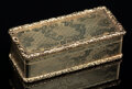 Silver & Vertu, An English-Style 18K Gold Snuff Box. 1 x 3-1/8 x 1-3/8 inches (2.5 x 7.9 x 3.6 cm). 3.01 troy ounces. Property from the ...