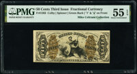 Fr. 1363 50¢ Third Issue Justice PMG About Uncirculated 55 EPQ