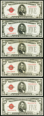 $5 Legal Tender Notes. ... (Total: 6 notes)
