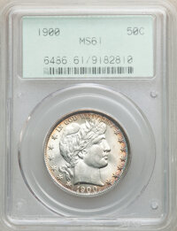 1900 50C MS61 PCGS. PCGS Population: (12/222). NGC Census: (29/169). CDN: $550 Whsle. Bid for NGC/PCGS MS61. Mintage 4,7...