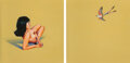 Paintings, Mel Ramos (1935-2018). Leta and the Scissor-Tailed Flycatcher, diptych, 1969. Oil on canvas. 50 x 100 inches (127 x 254 ... (Total: 2 Items)