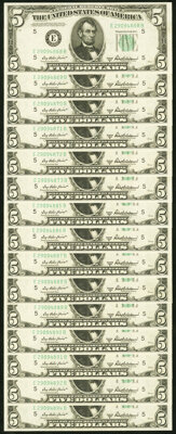 Fr. 1963-E $5 1950B Federal Reserve Notes. Fifteen Examples. Choice Crisp Uncirculated. ... (Total: 15 notes)