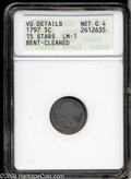 Early Half Dimes: , 1797 H10C 15 Stars--Bent, Cleaned--ANACS. VG Details, Net ...