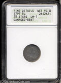 Early Half Dimes: , 1797 H10C 15 Stars--Damaged, Bent--ANACS. Fine Details, Net ...
