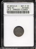 Early Half Dimes: , 1800 H10C --Damaged, Cleaned--ANACS. VF Details, Net Fine 12....