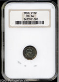 Seated Half Dimes: , 1850 H10C MS66 NGC. Well struck, save for minor weakness ...