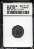 Early Dimes: , 1798 10C Large 8--Rim Filed, Cleaned--ANACS. XF Details, ...