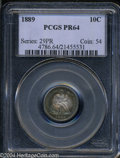 Proof Seated Dimes: , 1889 10C PR64 PCGS. One of only 711 proofs struck. The ...