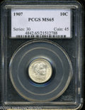 Barber Dimes: , 1907 10C MS65 PCGS. The immaculate, lustrous surfaces are ...