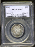 Barber Quarters: , 1905 25C MS65 PCGS. Well struck and highly lustrous, with ...