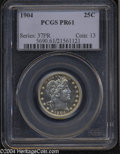 Proof Barber Quarters: , 1904 25C PR61 PCGS. Well struck with flashy, highly ...