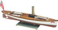 Live Steam Bat Launch 1:8 Ship Model with Glass,Brass and Wood Case, circa 2000 4