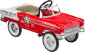 """Collectible, Tri-Five 1955 Chevrolet Indianapolis 500 Official Pace Car Pedal Car. Marks: """"CHEVROLET"""", (checkered flag, ..."""
