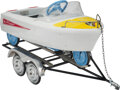 Collectible, Murray Skipper Run-A-Bout Pedal Boat and Trailer, Cleveland, Ohio, circa 1960. Marks: Skipper. 39 x 18 x 17-...