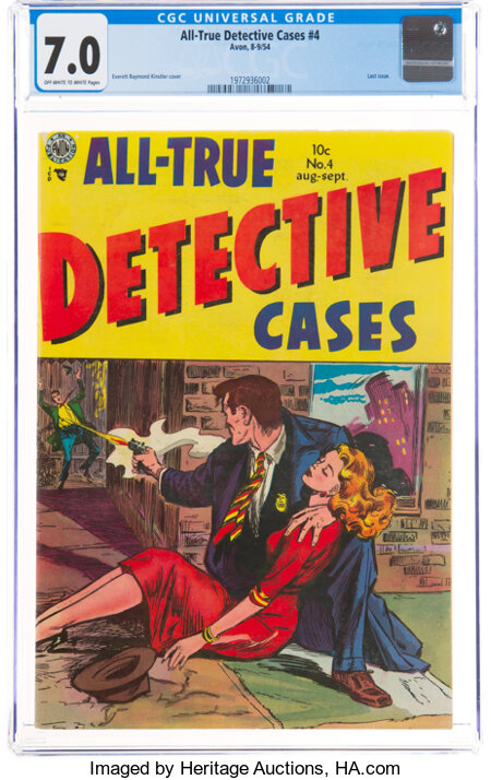 All-True Detective Cases #4 (Avon, 1954) CGC FN/VF 7.0 Off-white to white pages....