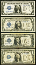 Small Size:Silver Certificates, $1 Funny Back Silver Certificates.. Fr. 1600 1928 XF;. Fr. 1601 1928A Fine;. Fr. 1602 1928B Fine;. Fr. 1604 19... (Total: 4 notes)