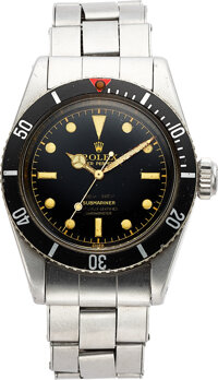 """Rolex, Extremely Rare And Important Submariner """"Big Crown"""", Four Liner Dial, Ref. 6538, From The Original Owne..."""