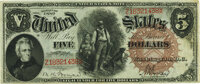Fr. 72 $5 1880 Legal Tender PMG About Uncirculated 55