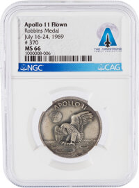 Apollo 11 Flown MS66 NGC Sterling Silver Robbins Medallion, Serial Number 370, Directly From The Armstrong Family Collec...