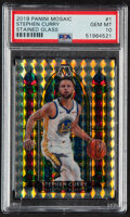 Basketball Cards:Singles (1980-Now), 2019 Panini Mosaic Stephen Curry (Stained Glass) #1 PSA Gem Mint 10. ...
