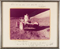 Explorers:Space Exploration, Gene Cernan: Large Presentation Photo of Him in the Lunar Rover, circa 1975, Signed Extensively on the Mat to His Friend, the ...