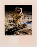 """Explorers:Space Exploration, Buzz Aldrin Signed Large Apollo 11 Lunar Surface """"Visor"""" Color Photo Originally from His Personal Collection...."""