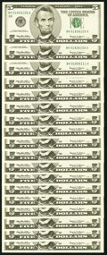 Small Size:Federal Reserve Notes, Fr. 1987-H $5 1999 Federal Reserve Notes. Eighteen Consecutive Examples. . ... (Total: 18 notes)