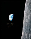 """Explorers:Space Exploration, Frank Borman Signed Apollo 8 """"Earthrise"""" Large Color Photo, with Added """"First to the Moon,"""" with Novaspace Certificate of Auth..."""