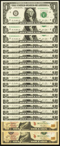 Small Size:Federal Reserve Notes, Fr. 3001-B* $1 2013 Federal Reserve Star Notes. Seventeen Consecutive Examples. About Uncirculated;. Fr. 2042-B* $10 2013 ... (Total: 19 notes)